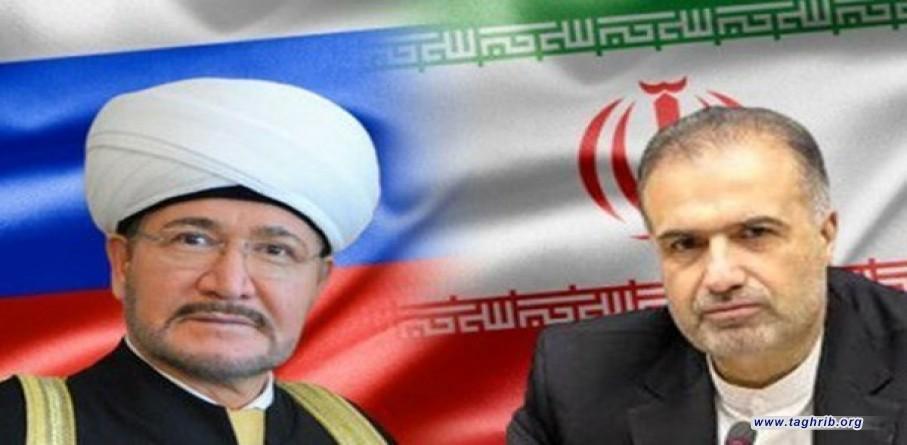 في اتصال هاتفي مع السفير الايراني رئيس مجلس المفتين في روسيا يشيد بجهود التقريبية للفقيد العلامة التسخيري